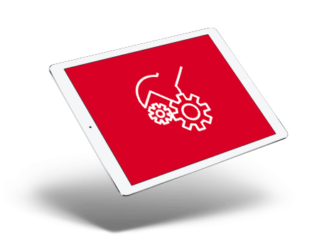 Imagen de un equipo con icono de mantenimiento web