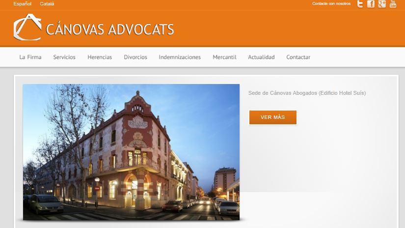 Pantallazo página web de Cánovas Advocats