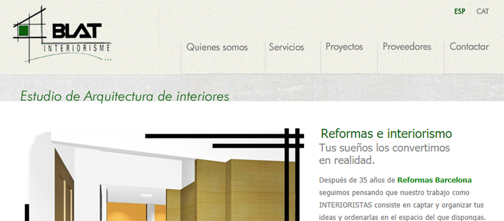 Captura de la web de Blat Interiorisme
