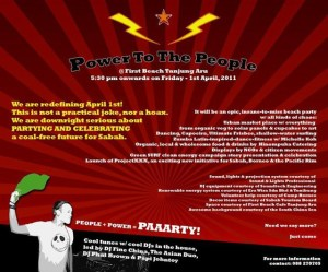The power to the people party taking place at First Beach Tanjung Aru
