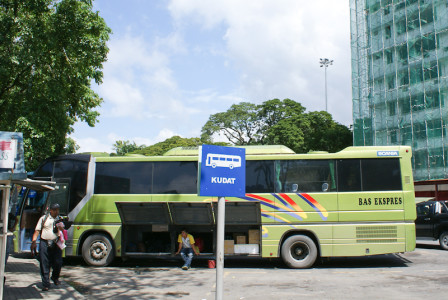 Long distance buses in Kota Kinabalu, Sabah, Borneo