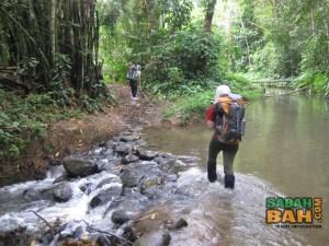 One of the easy river crossings on the Salt Trail Jungle Trek, Crocker Range