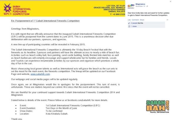 Sabah International Fireworks Competition 2014 - Cancelled