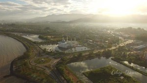 Drone photo taken in Tanjung Lipat of the Floating Mosque, Kota Kinabalu, Sabah, Borneo