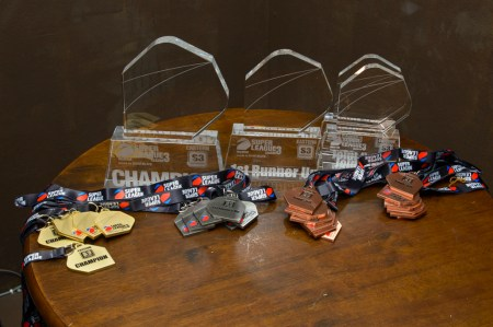 Super League Season 3 Eastern Division S3 trophies and medals.