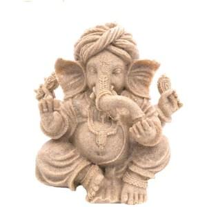Ganesha Statue Vintage Fengshui Elephant Sculpture Natural Sandstone Craft