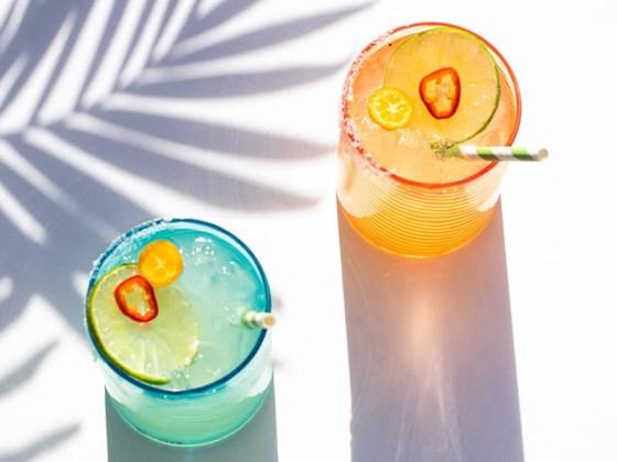 Margaritas in Twisty Drinking Glasses