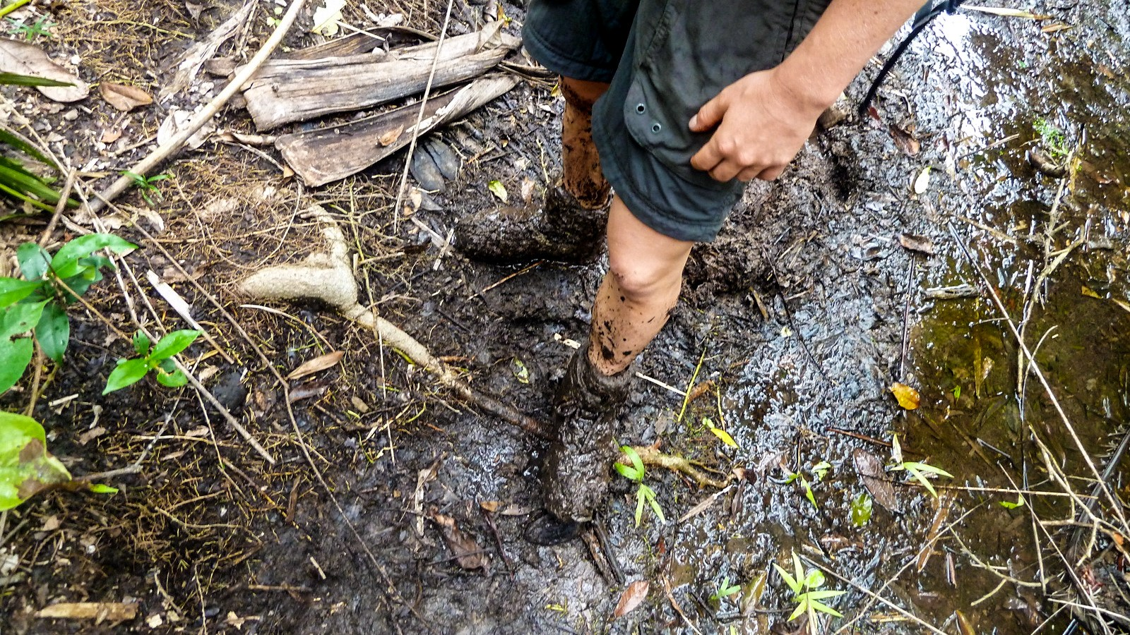a photo of mud covered hiking boots.