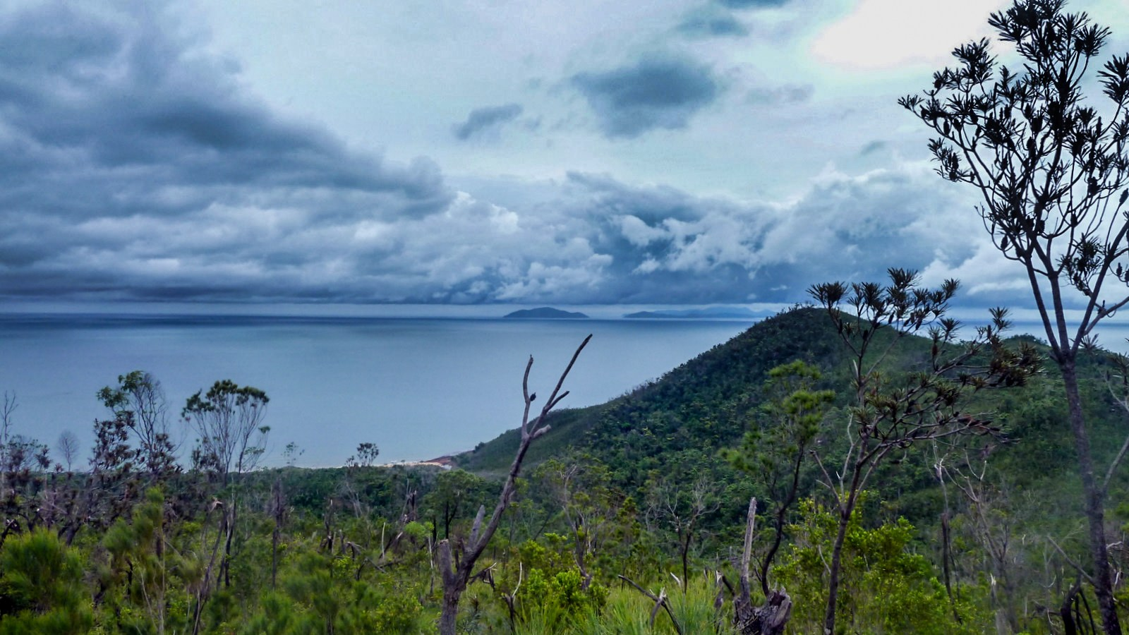 a photo of hinchinbrook's neighbouring islands with dark clouds in the background.