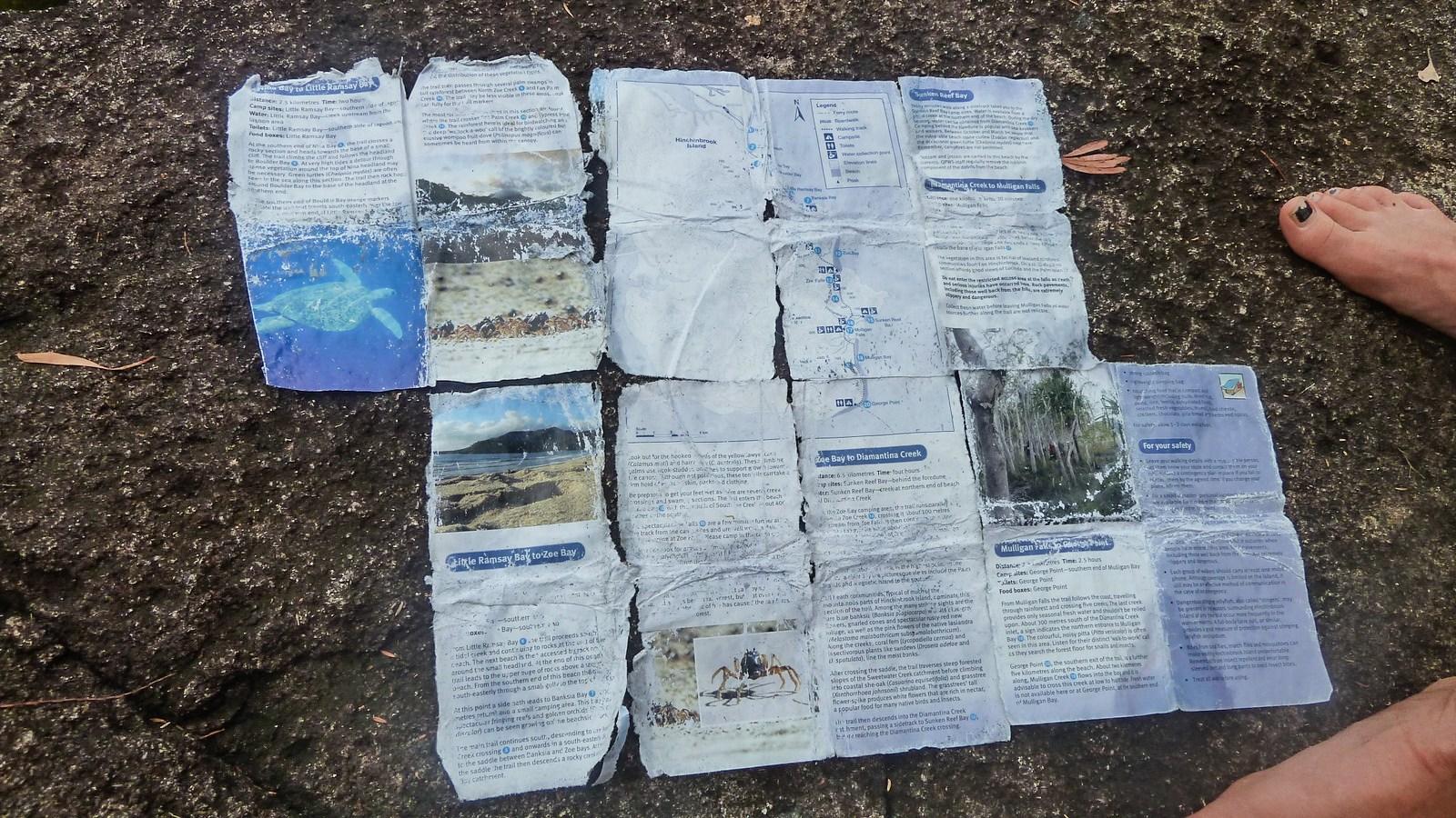 a photo of a torn hinchinbrook island hiking map