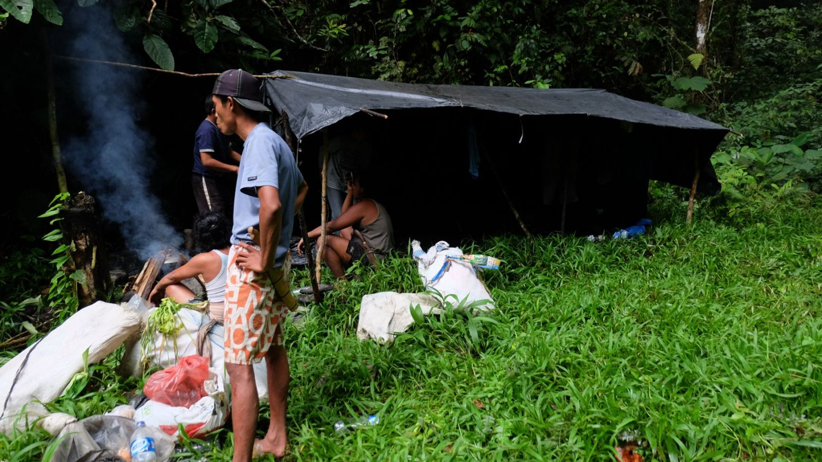 photo of a makeshift camp in gunung leuser national park.