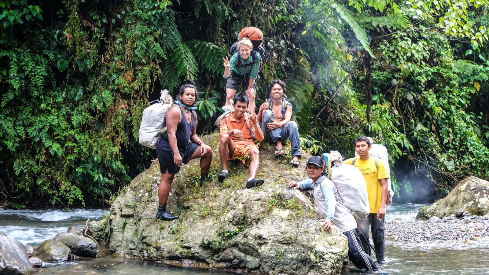 photo of hikers in gunung leuser national park