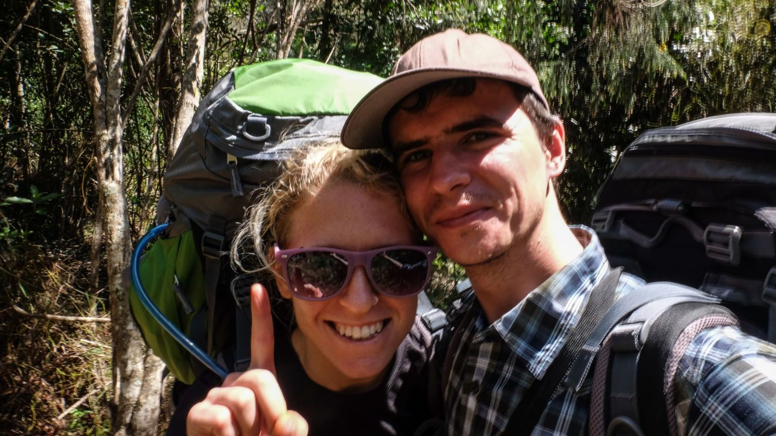 a photo of two hikers on the otter trail.