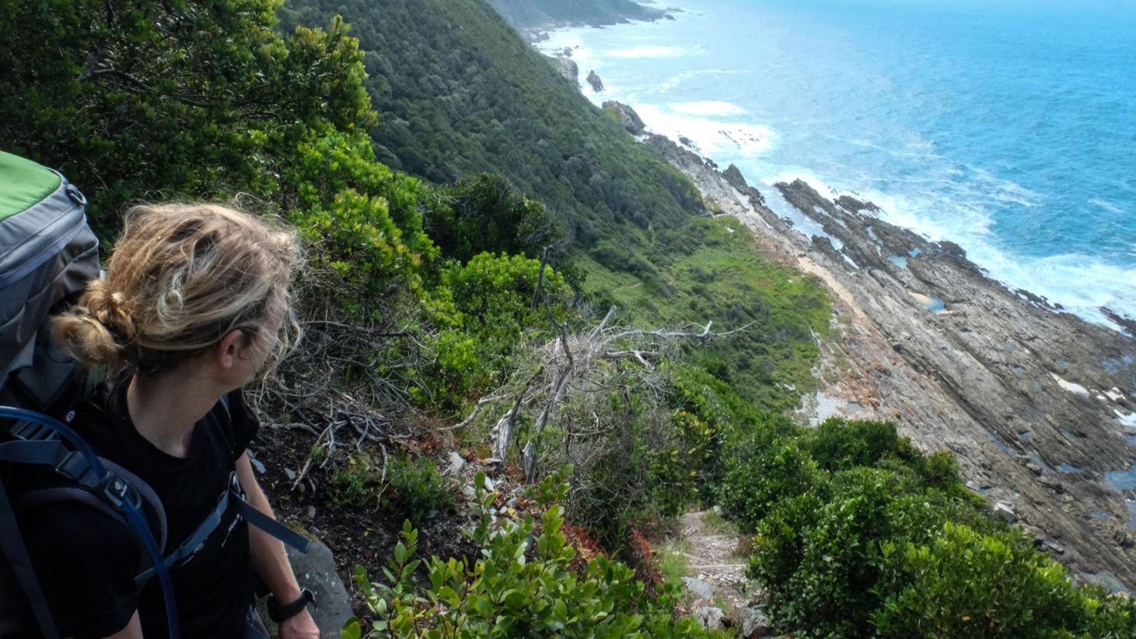 a photo of a hiker overlooking the coast along the otter trail.
