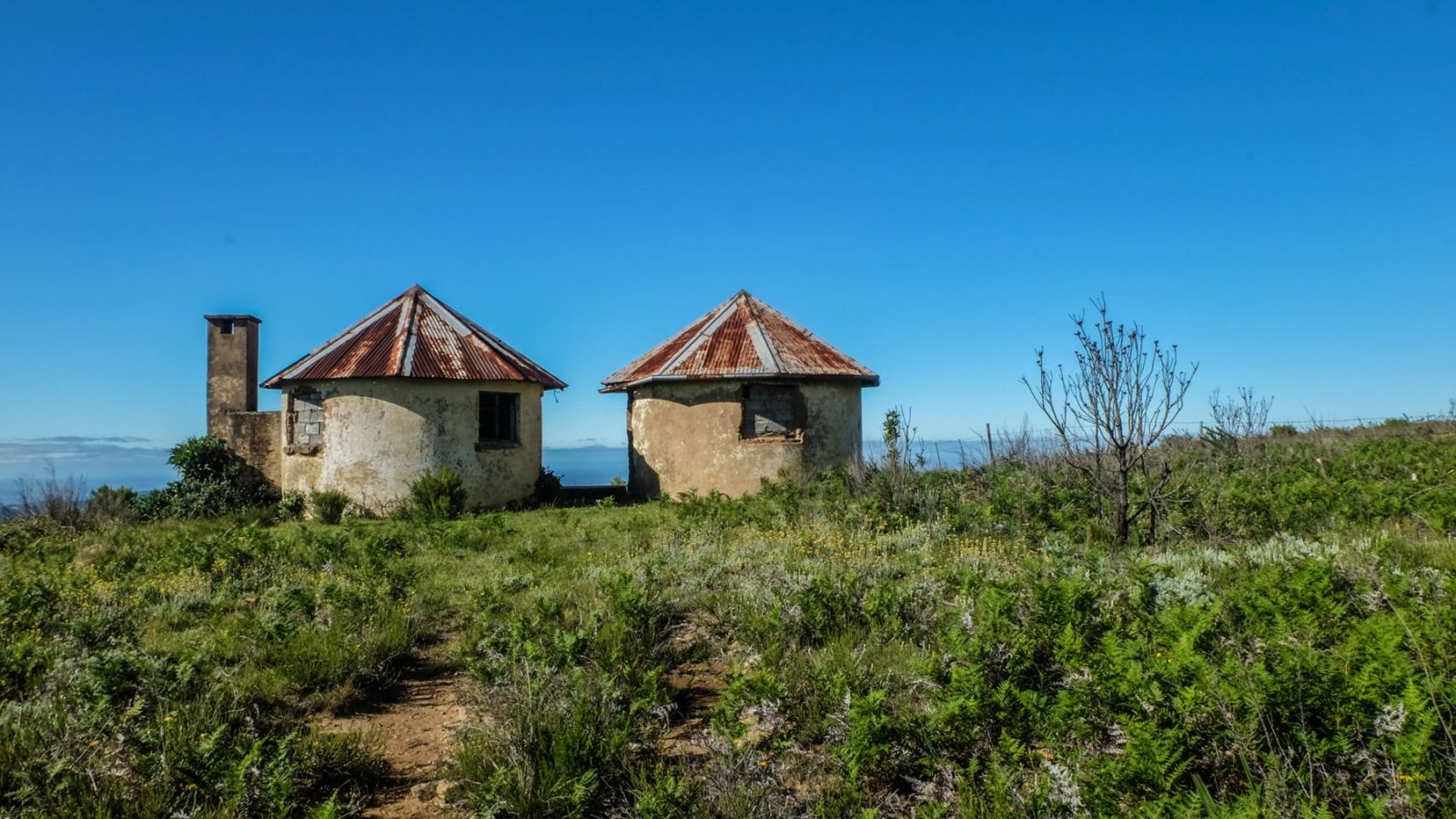 a photo of ancient cata huts on the amathole trail in south africa.