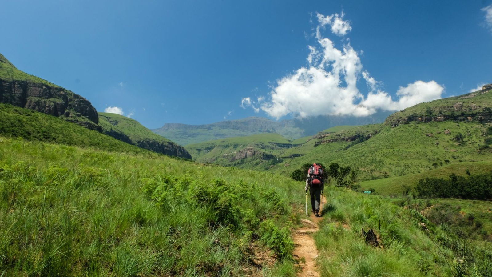 photo of a hiker in the drakensberg mountains