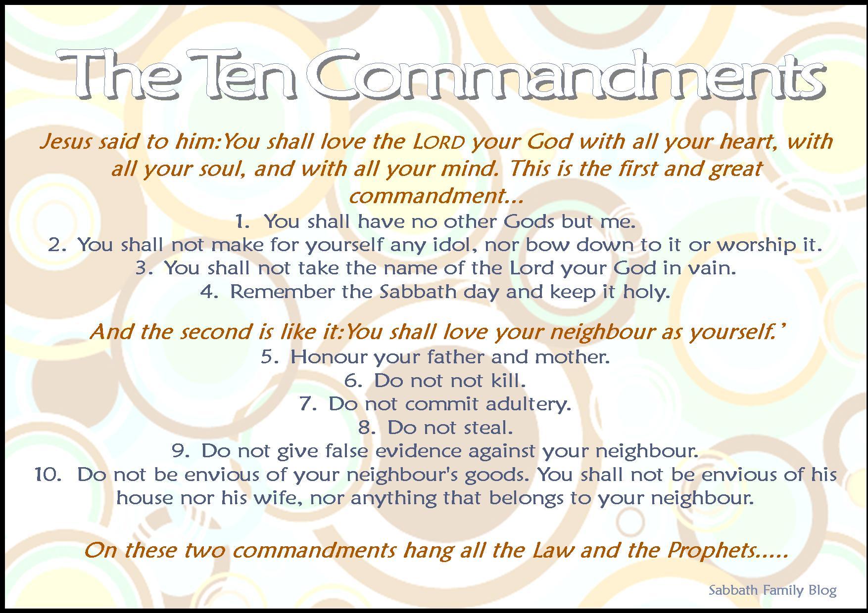 Ten Commandments Printable