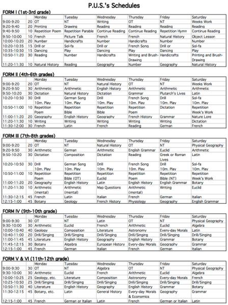 PUS Schedules