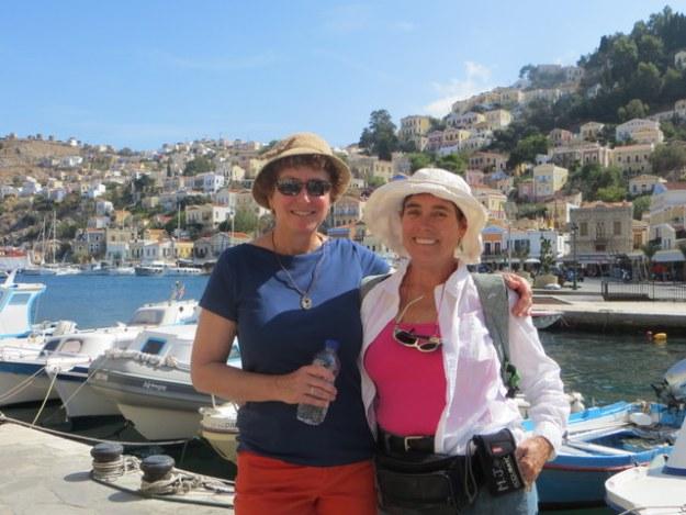 "Melinda (of ""Sassoon"") and Laura at Symi Harbor"