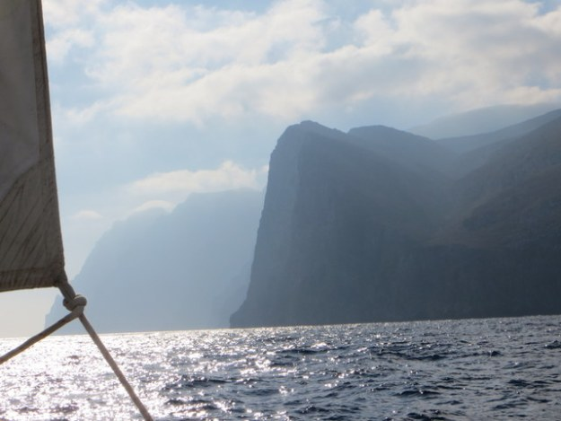 Sailing past the cliff or Amorgos Island