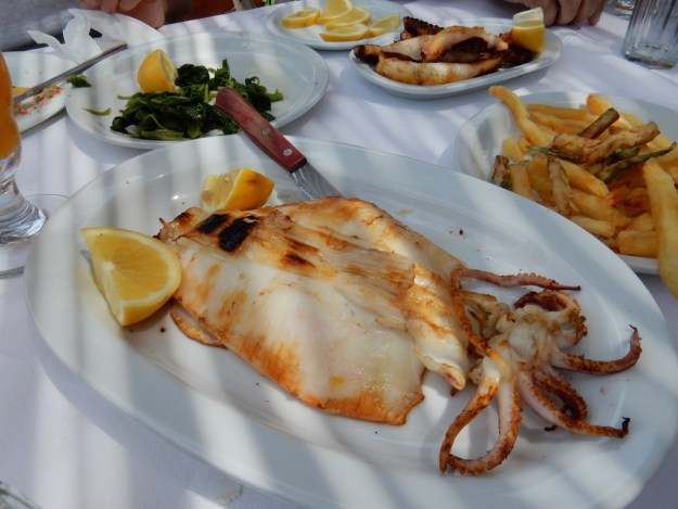 Grilled whole squid, Captain Pepino's Taverna, St. Georges, Antiparos Island