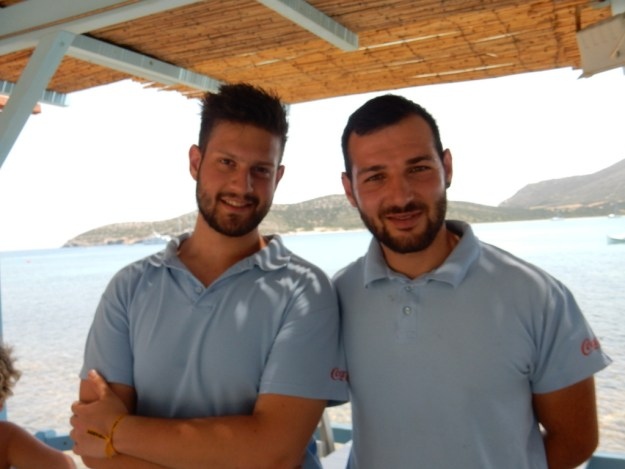 Giorgio and Pantelis -- friendly waiters at Captain Pepinos Taverna in St. Georges, Antiparos