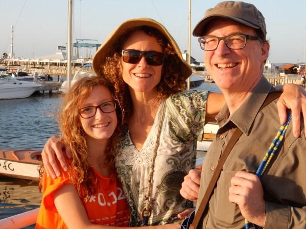 Kalya, Diane, and Jonathan at the marina