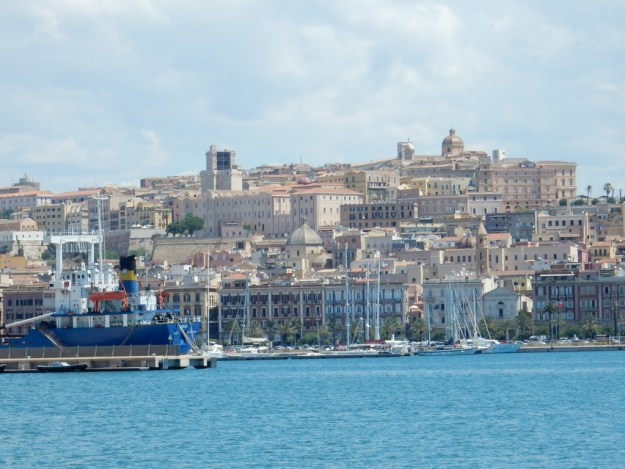 View of Cagliari from the harbor entrance.