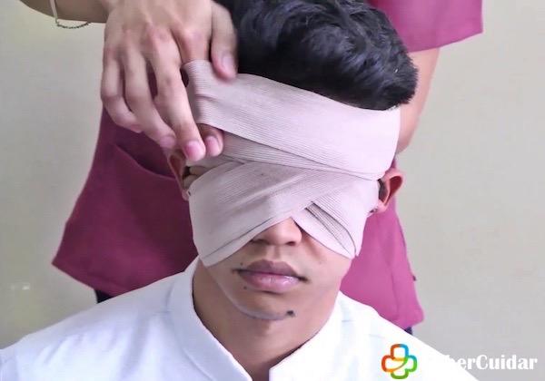 vendaje de cabeza binoculo