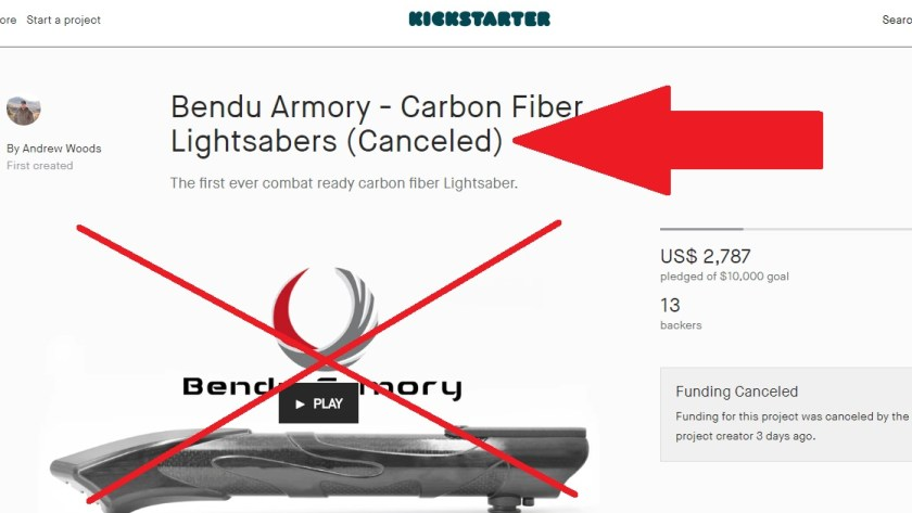 Bendu Armory cancels carbon fiber lightsaber Kickstarter
