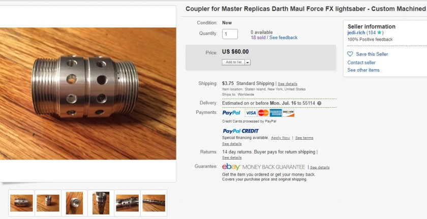Replacement Force FX lightsaber coupler
