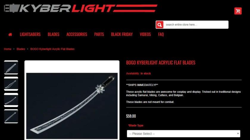 Kyberlight flat lightsaber blades