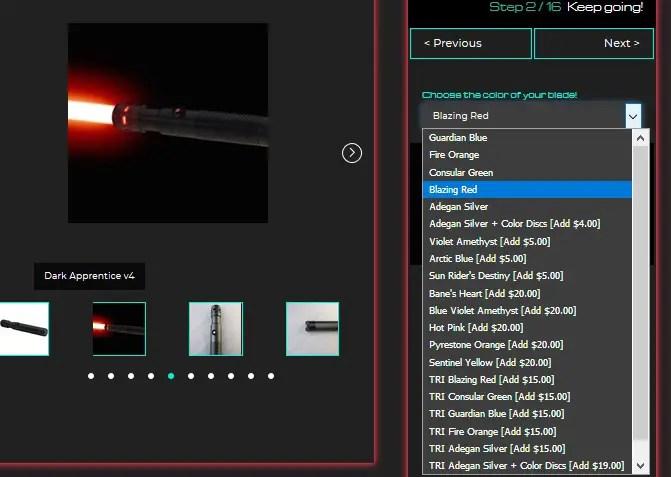 screenshot of Ultrasabers blade color drop-down menu