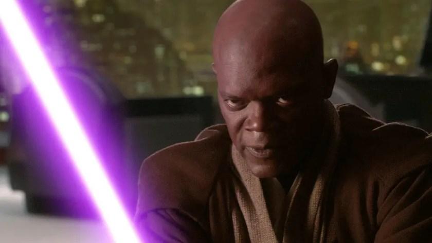 Jedi Master Mace Windu wields a purple lightsaber