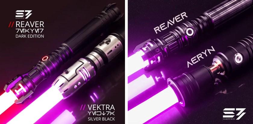 Sabertrio Vektra and Reaver lightsabers