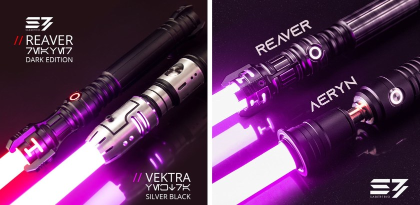 Sabertrio Vektra and Reaver lightsabers