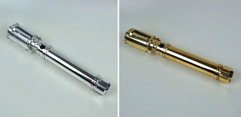 KR Sabers Flagship V2 aluminum lightsaber hilt (left) and KR Sabers Flagship V2 brass lightsaber hilt (right)