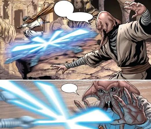 Hennix throws the Hennix lightsaber