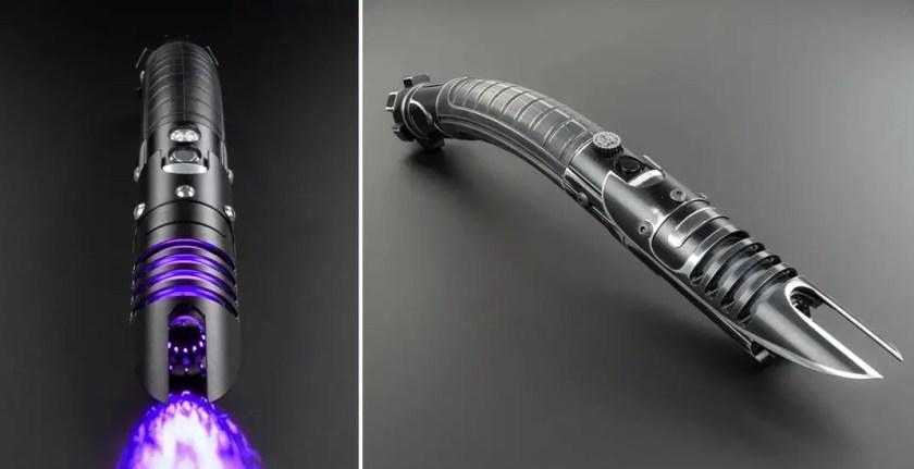 Saberforge Vanquish lightsaber (curved-hilt) weathered and black hilt