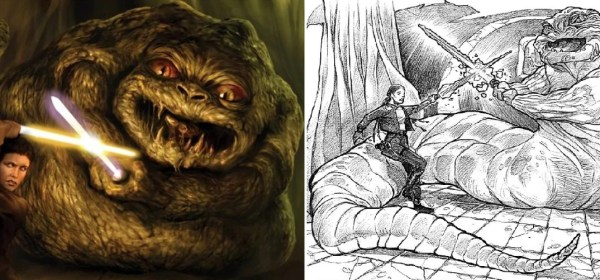 Beldorion the Hutt engages in a lightsaber duel with Leia Organa Solo