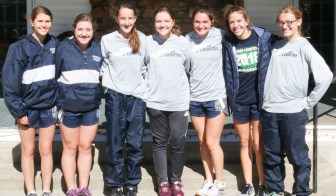 The Lady Jays cross country team gathers for a group photo after finishing in third at the 3A Regional Cross Country meet on Saturday, October 20, in Sabetha. Pictured are (L-R) Kenzie Meyer, Hunter Lowdermilk, Jadyn Dorn, Ellen Glynn, Skylar McAfee, Hattie Lukert and Madisen Cochran.