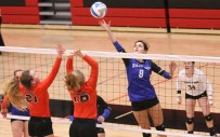Senior Shayna Strahm skies high for this tip over the Clay Center blockers during Sub-State at Marysville on Saturday, October 20.