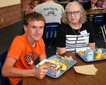 Damian Gillette and his grandmother Sharon Gillette pause for a photo on Grandparents Day held on Wednesday, September 26.