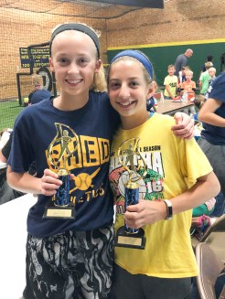 Leah Lukert, right, and Laura Edelman, left, win first and second places, respectively, in the girls' 12U Home Run Derby held as part of ShedFest on Saturday, October 6. ShedFest was sponsored by Shed Athletics and featured a coaches lecture by Head Washburn University Softball Coach Brenda Holaday and a Home Run Derby. Youth ages 14 and under were encouraged to participate.