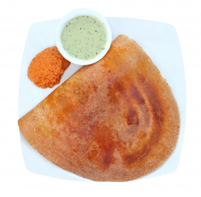 This is actually a masala dosa. Just as tasty as poppadoms and chutney. I'm hungry now...