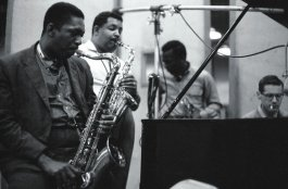 Kind of Blue recording session (L to R): John Coltrane, Cannonball Adderley, Miles Davis and Bill Evans (Photo by Don Hustein)