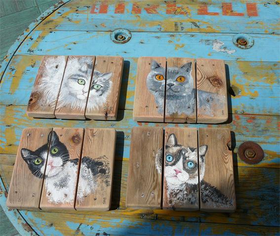 les chat du quartier ,acrylique sur bois, palette,sabine hautefeuille