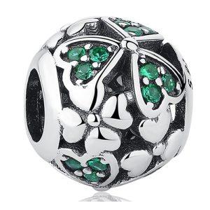 Charm Green Hearts din Argint