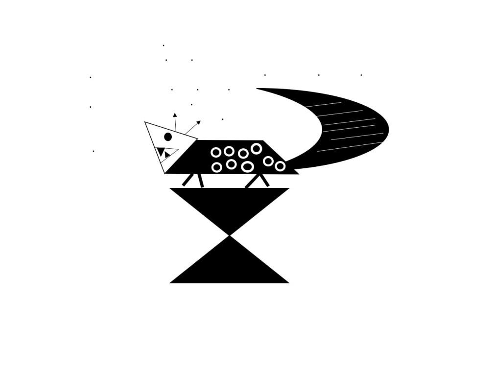 Grafik, schwarz - weiß, Muster, Pfeile, Drachen auf einem Podest