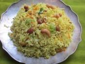 Mango Carrot Pulihora Serving Plate